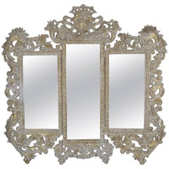 French Rococo Style Painted and Parcel-Gilt Three-Part Mirror