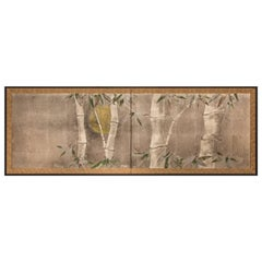 Japanese Two-Panel Screen: Bamboo in the Moonlight on Silver