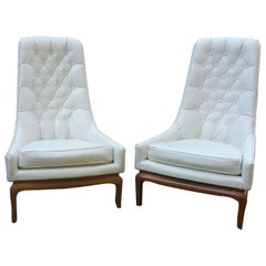 Pair of Robsjohn-Gibbings Tufted Lounge Chairs