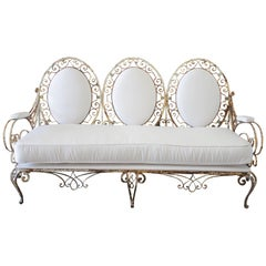 19th Century Antique French Iron Outdoor Sofa in White Sunbrella