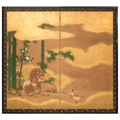 "Japanese Two-Panel Screen ""Leopard with Cubs"""