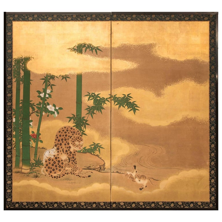 """Japanese Two-Panel Screen """"Leopard with Cubs"""" For Sale"""