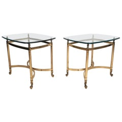 Pair of Mid-Century Modern Brass End Tables with Glass Tops