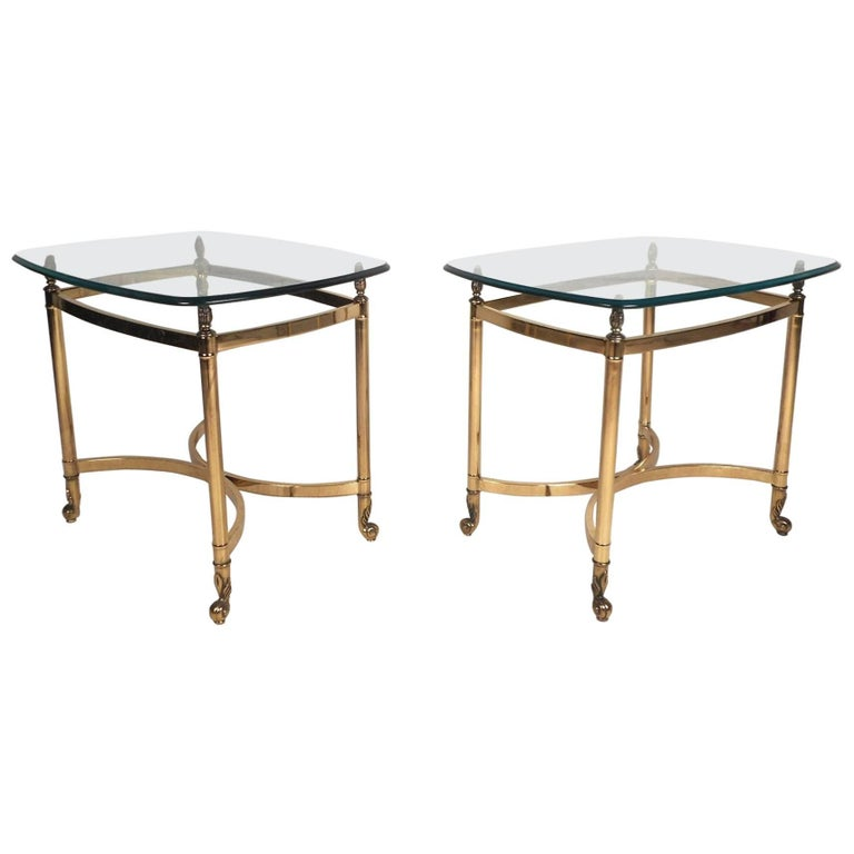 Awesome Pair Of Mid Century Modern Brass End Tables With Glass Tops Download Free Architecture Designs Grimeyleaguecom