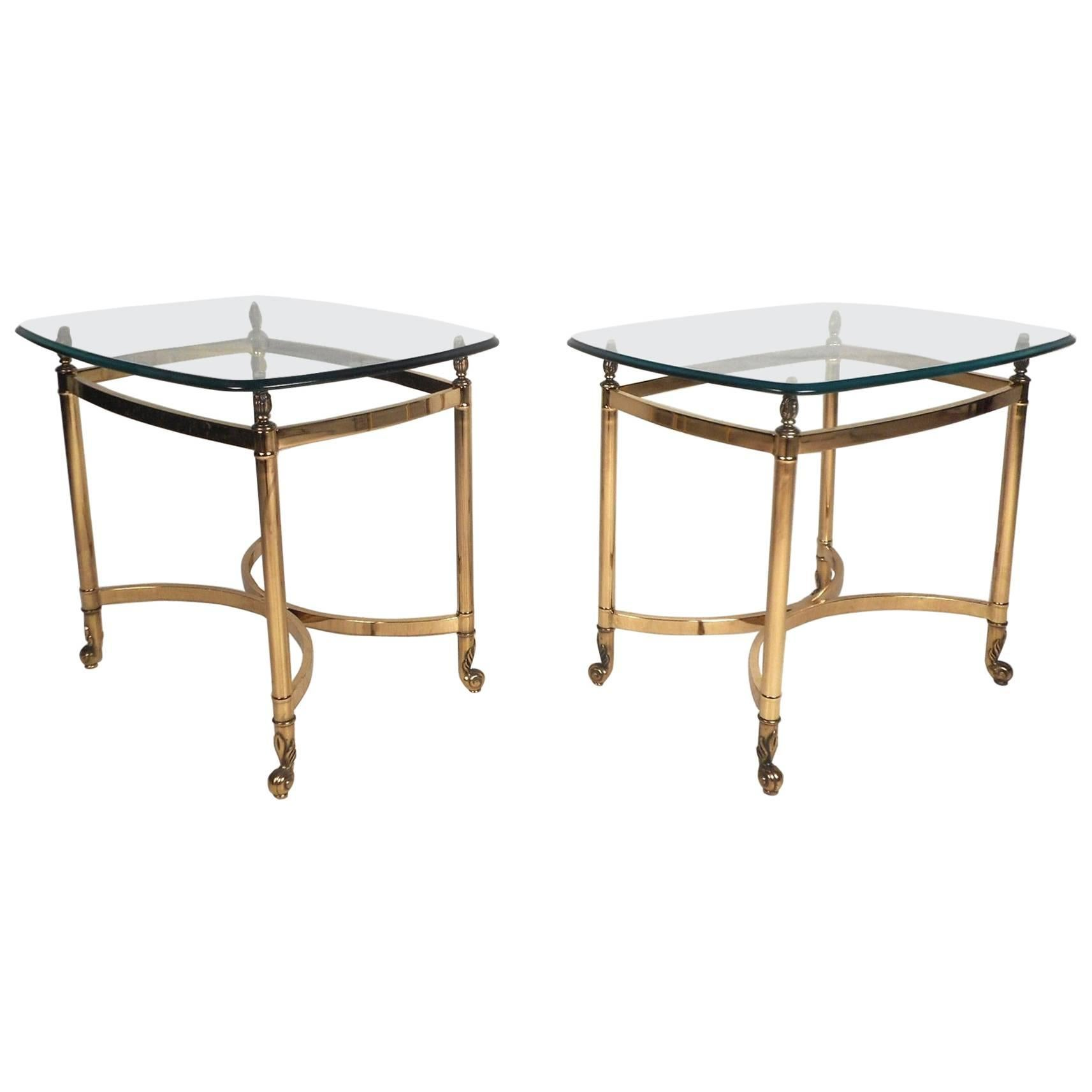 Pair Of Mid Century Modern Brass End Tables With Glass Tops