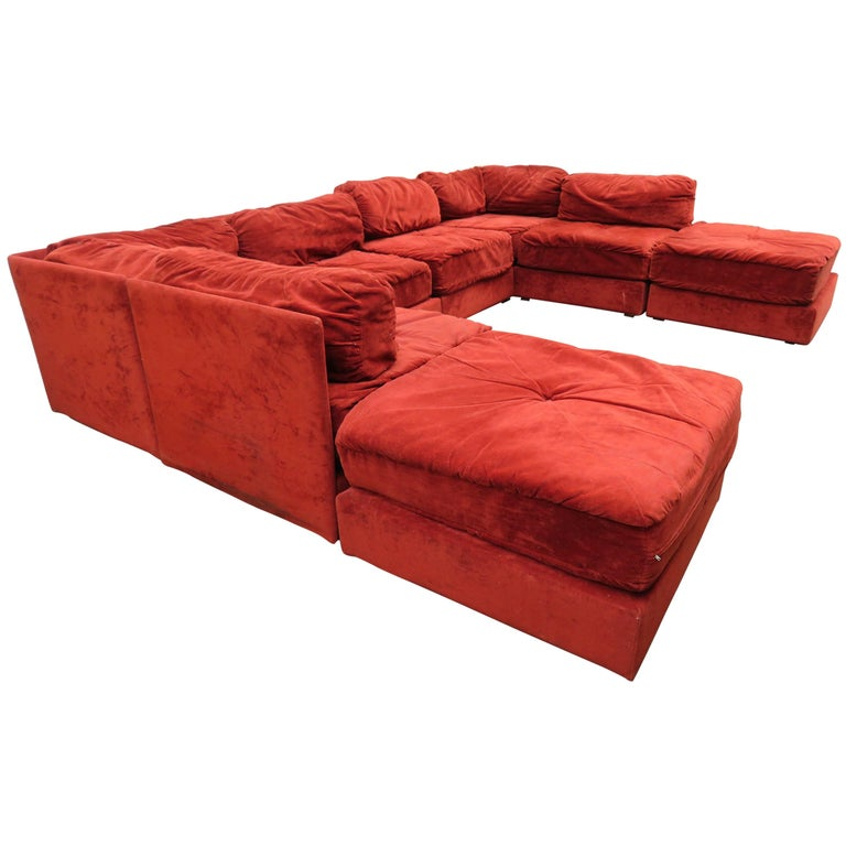 Milo Baughman Style Eight-Piece Sectional Sofa Ottoman, Mid-Century ...