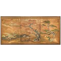 Japanese Six-Panel Screen, Audubon Landscape with Maple and Pine