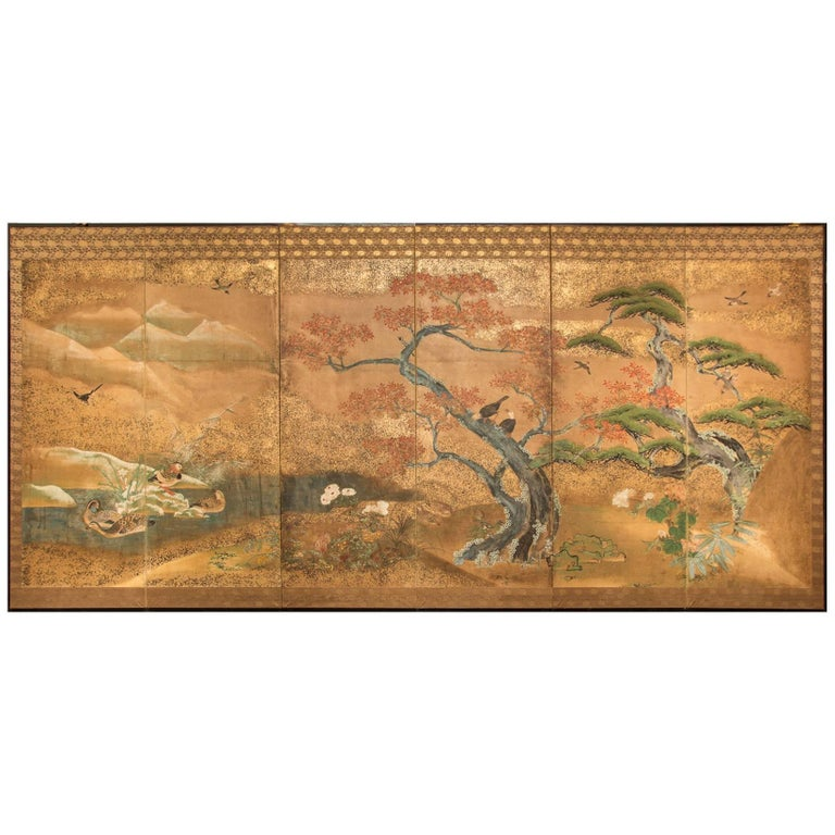 Japanese Six-Panel Screen, Audobon Landscape with Maple and Pine