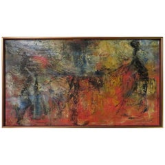 Exciting Gino Hollander Style Abstract Oil Painting Mid-Century Modern