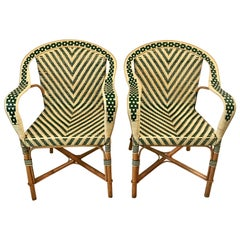 Pair of Mid Century French Armchairs, Two-Tone Wicker Rattan Chevron Pattern