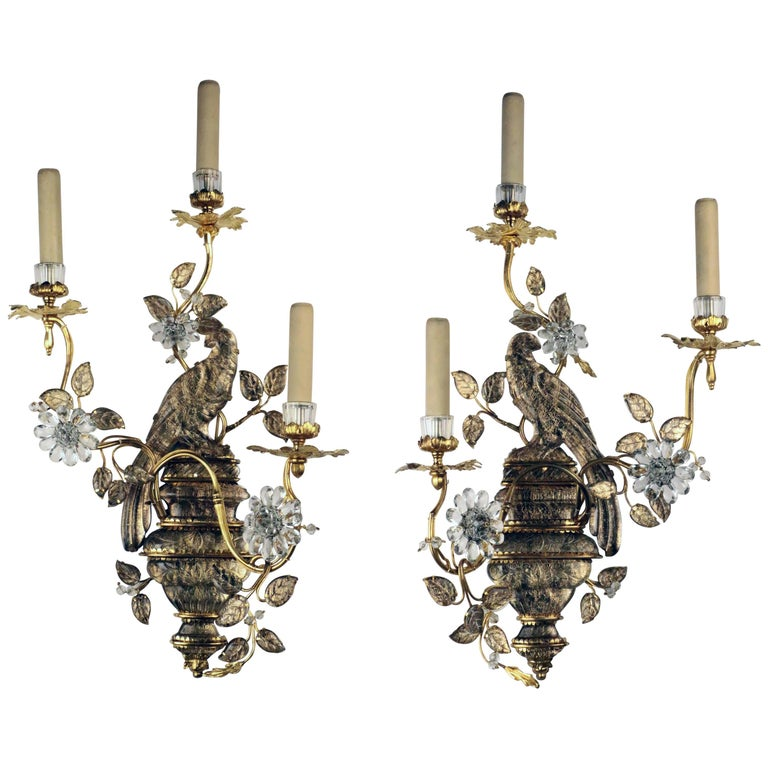 "Pair of ""Perroquet"" Wall Appliques, Maison Bagues, circa 1920"
