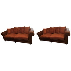 Handsome Pair of Well Loved Ralph Lauren Comfy Sofas