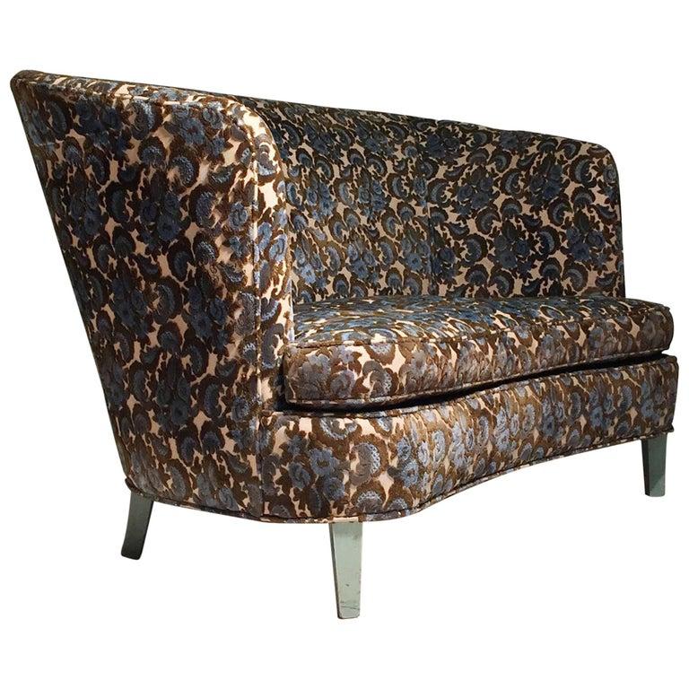 1940s Vintage Designer Loveseat High Back Sofa