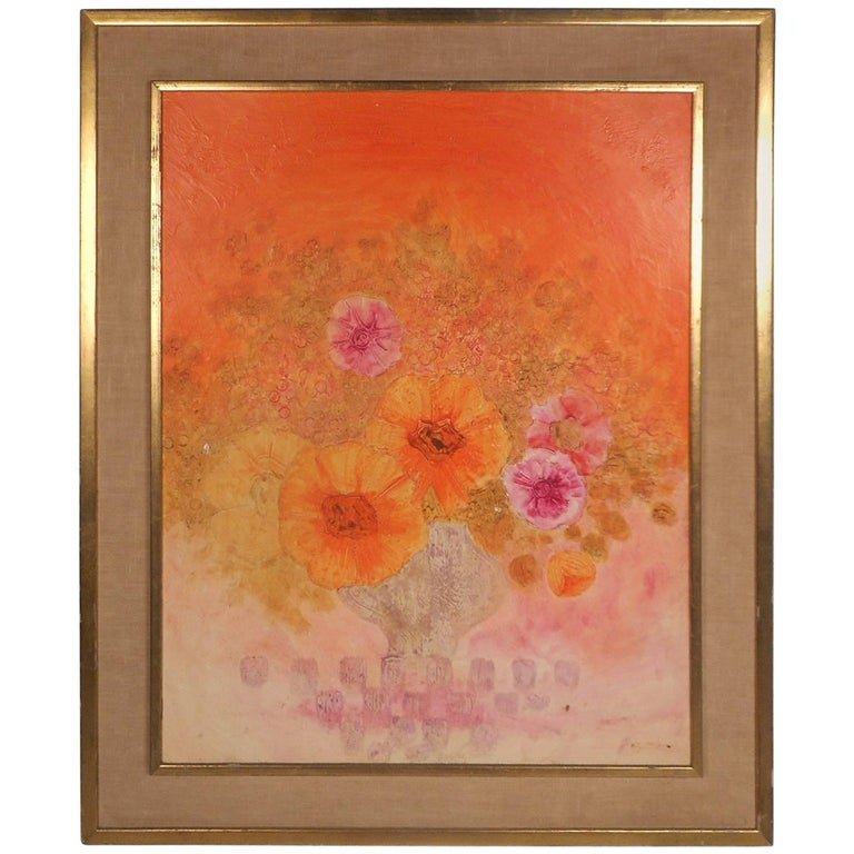 Gorgeous Floral Abstract Oil Painting Signed by the Artist