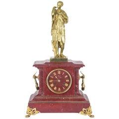 Antique Mantel Clock, French Rouge Marble Clock, Gilt Bronze Mantel Clock