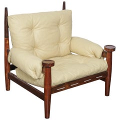 Solid Rosewood 1960s Tall Lounge Chair with Crème Leather Cushions from Brazil