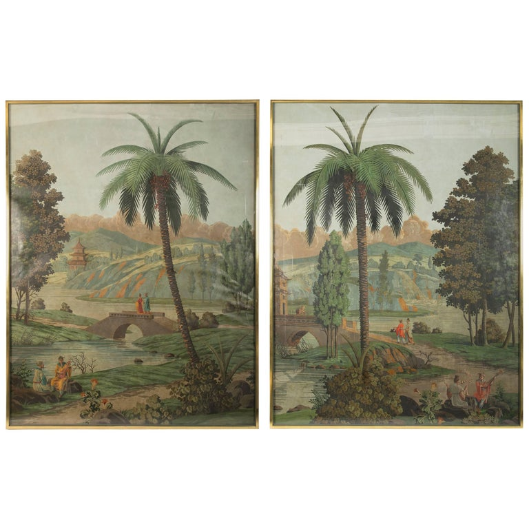 Large Pair of Chinoiserie Wallpaper Panels by Zuber