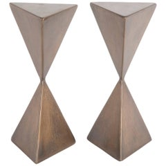 Signed Pair of Small Bronze Cocktail Tables by Vladimir Kagan