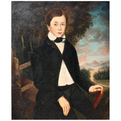 American Folk Portrait of a Boy, Attributed to Orlando Hands Bears, 1830s