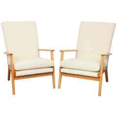 Pair of Parker Knoll Beech Lounge Chairs in off White Fabric