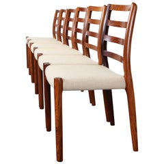 Set of Six Danish Rosewood Niels O. Moller Chairs No 85, 1980s