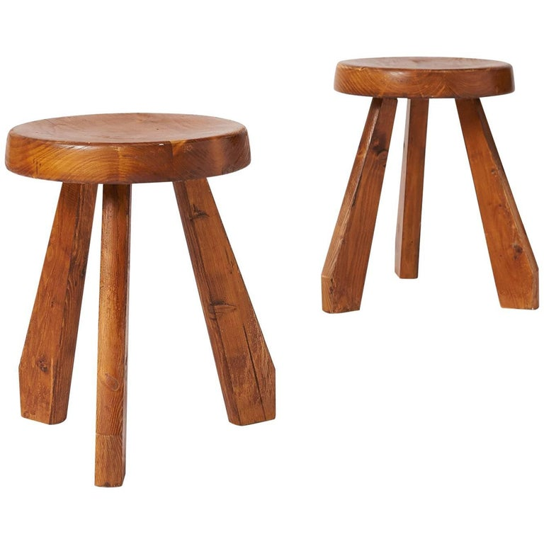 "Pair of ""Sandoz"" Stools in Pine by Charlotte Perriand"
