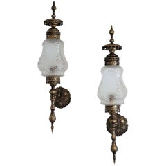 Pair of Bronze Torchieres Sconces, Wall Lanterns, France Late 19th Century