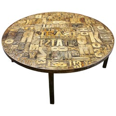 Early 20th Century Unusual Wood Letter Block Coffee Table