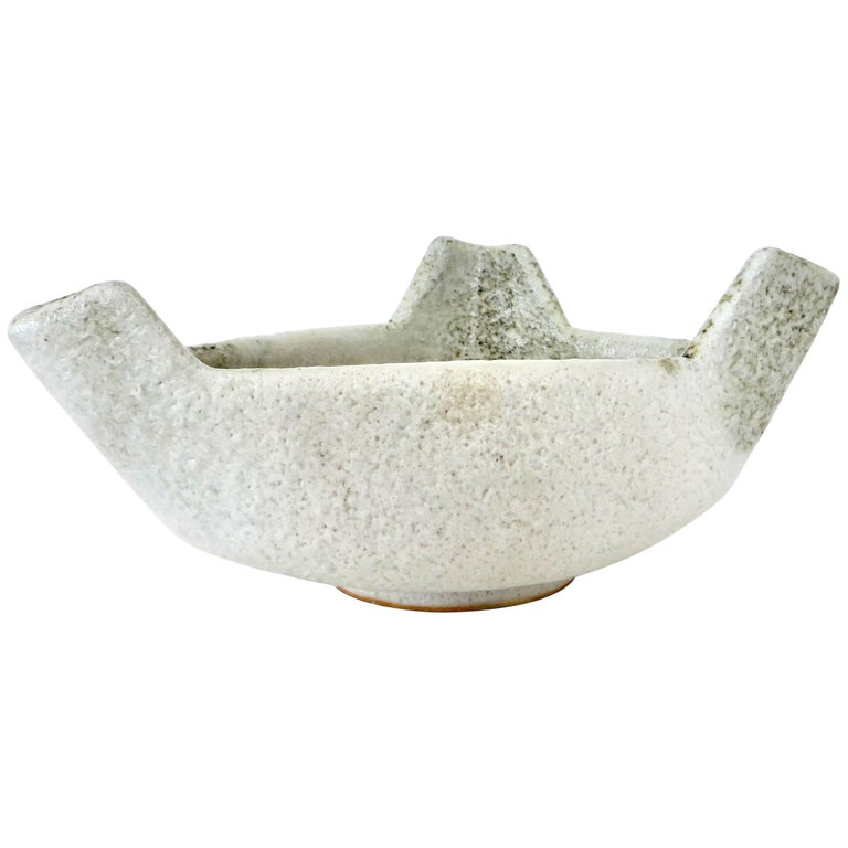 Japanese Ikebana Ceramic Vase with an Abstract Highly Textured White Glaze