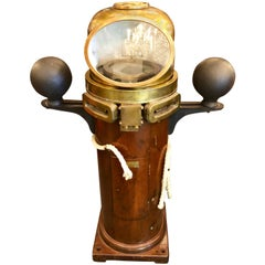 Antique American Brass and Mahogany Binnacle, circa 1900-1920