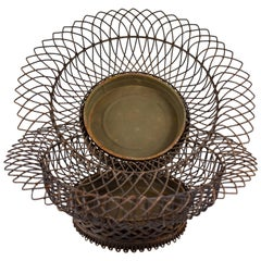 19th Century French Twisted Wire Basket Footed Jardinière with Tin Liner