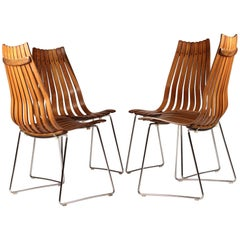 Set of Four Scandinavian Modern Rosewood Senior Dinning Chairs by Hans Brattrud