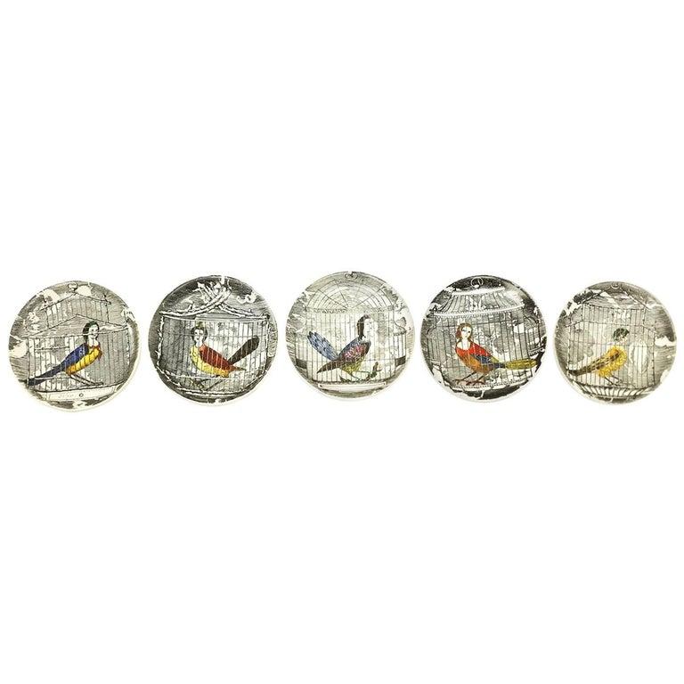 Piero Fornasetti Rare Multi Colored L'Arpie Gentili Coasters, Set of Five