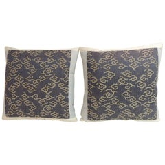 Pair of Vintage Blue and Gold Japanese Embroidery Decorative Pillows