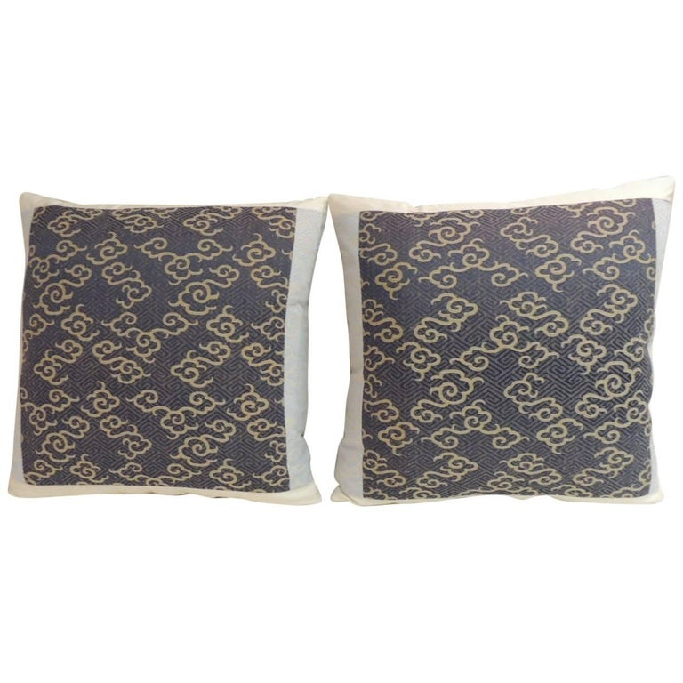 Pair of Vintage Japanese Embroidery Decorative Pillows