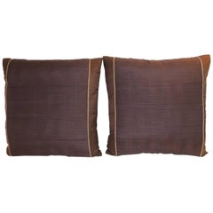 Pair of Vintage Brown and Purple Obi Woven Decorative Square Pillows