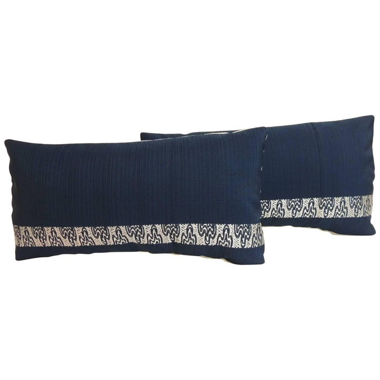Pair of Vintage Blue and Silver Woven Obi Textiles Lumbar Pillows For Sale