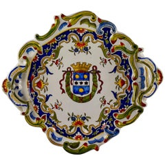 Cherbourg French Faïence Armorial Handled Platter