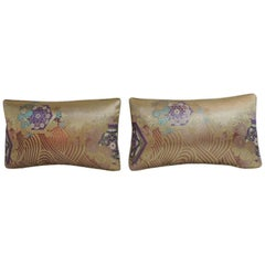 Pair of Vintage Gold and Purple Woven Textiles Obi Lumbar Pillows
