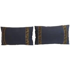 Pair of Blue and Gold Obi Silk Lumbar Vintage Decorative Pillows