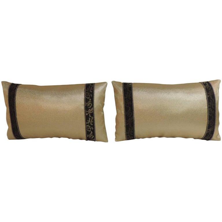 Pair of Black and Gold Obi Silk Lumbar Vintage Decorative Pillows For Sale