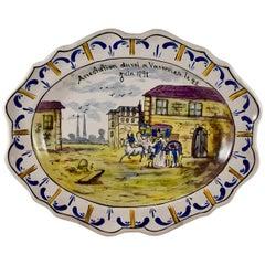Faïence French Revolution Commemorative Platter, Arrestation du Roi à Varennes