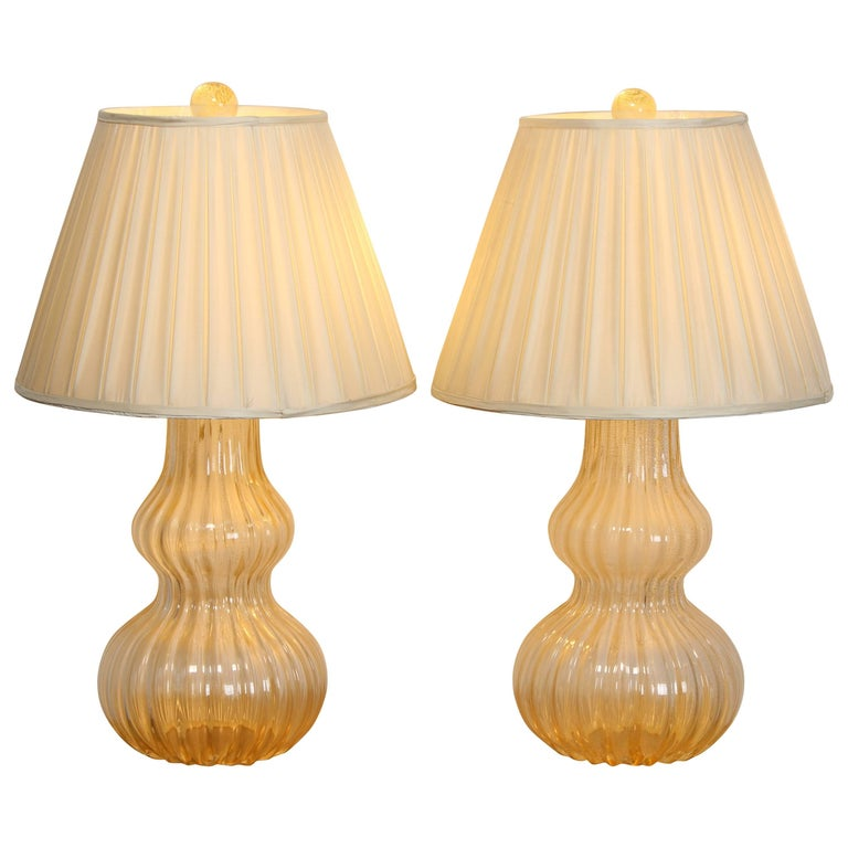 Pair of Murano Glass Table Lamps, 1980