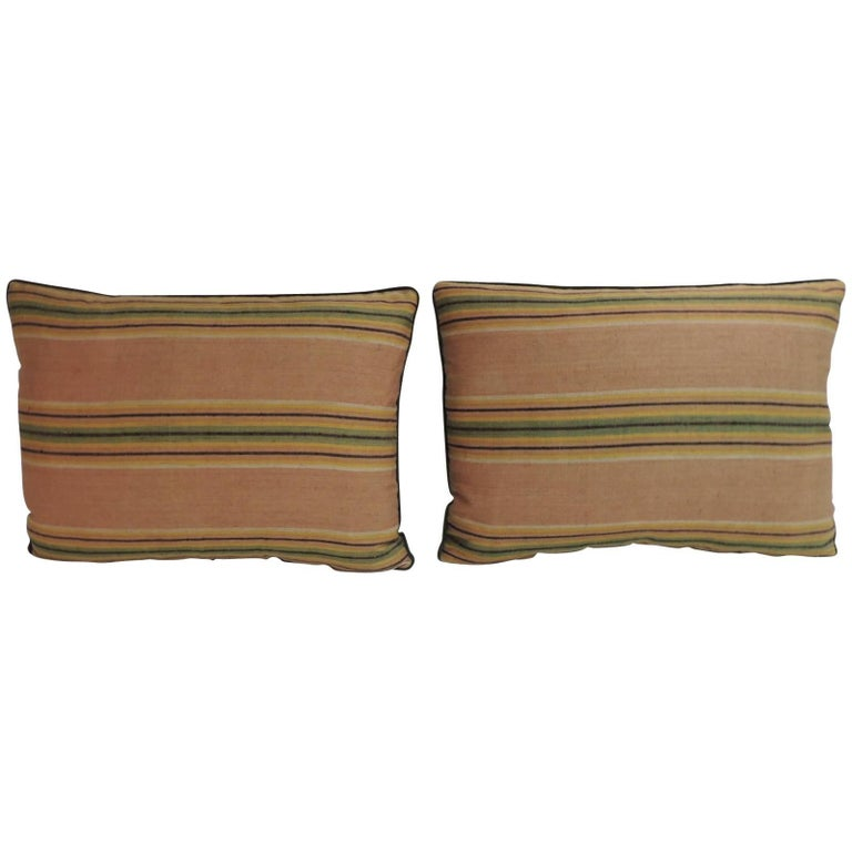 Pair of 19th Century Striped French Silk Decorative Lumbar Pillows