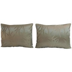 Pair of Vintage Moss Green Bamboo Pattern Silk Obi Decorative Pillows