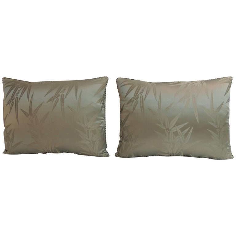 Pair of Vintage Moss Green Bamboo Pattern Silk Obi Decorative Pillows For Sale