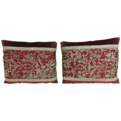 Pair of 19th Century Metallic Threads Embroidery Lumbar Decorative Pillows