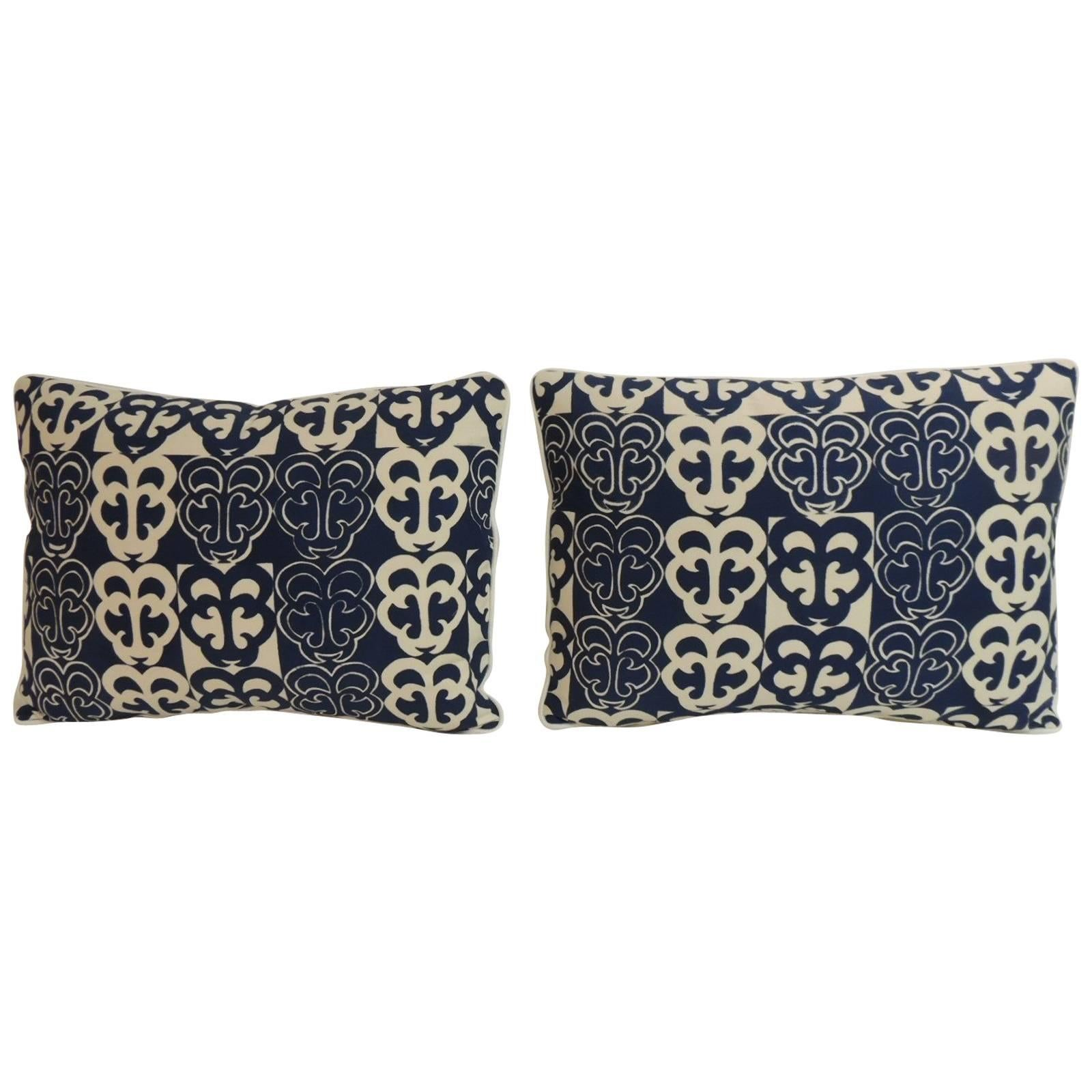 """Pair of Vintage Blue and White """"MOD"""" Bolster Decorative Pillows"""