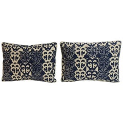 Pair of Vintage Blue and White Lumbar Decorative Pillows