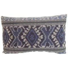 Vintage Indigo and Blue Ikat Decorative Bolster Pillow